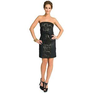 See by Chloe Strapless Wool and Jacquard Dress 44